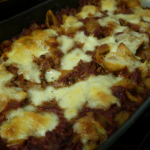 A cooked bolognese pasta bake