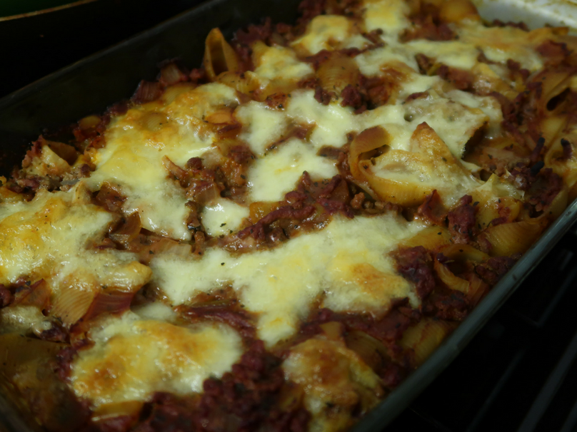 A cooked bolognese pasta bake one of my favourite easy beef mince recipes.