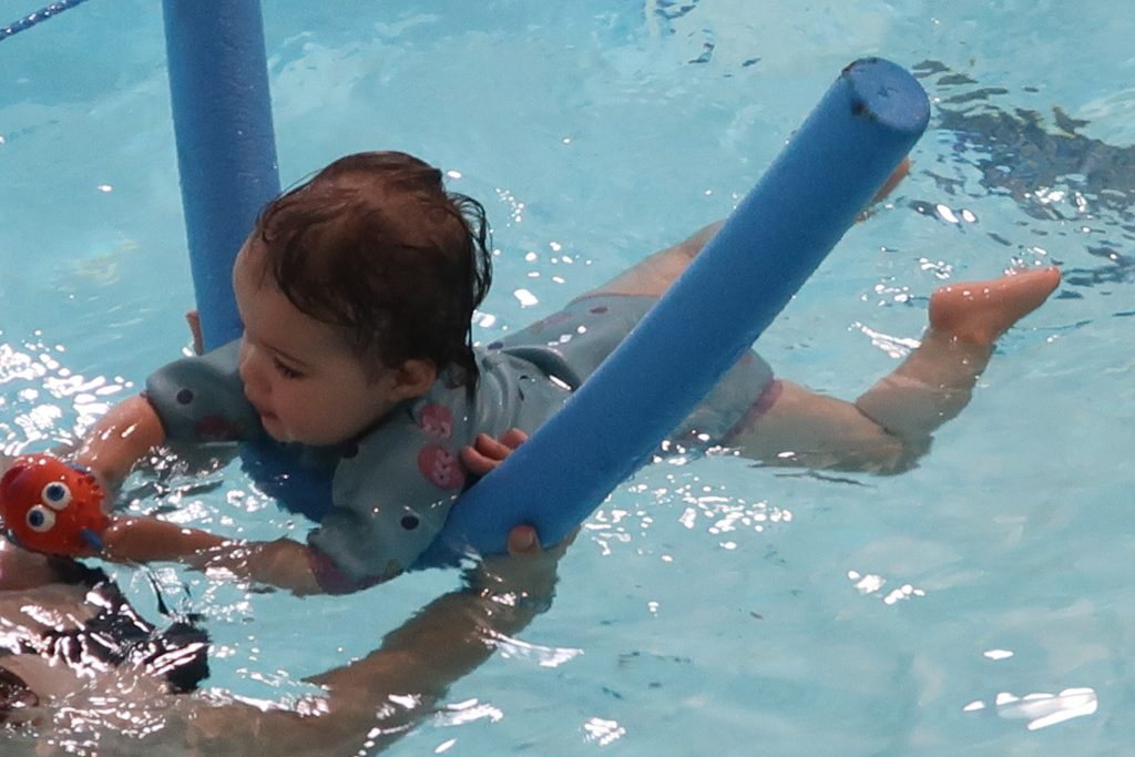 Daisy is 17 months old - Swimming floating on a pool float
