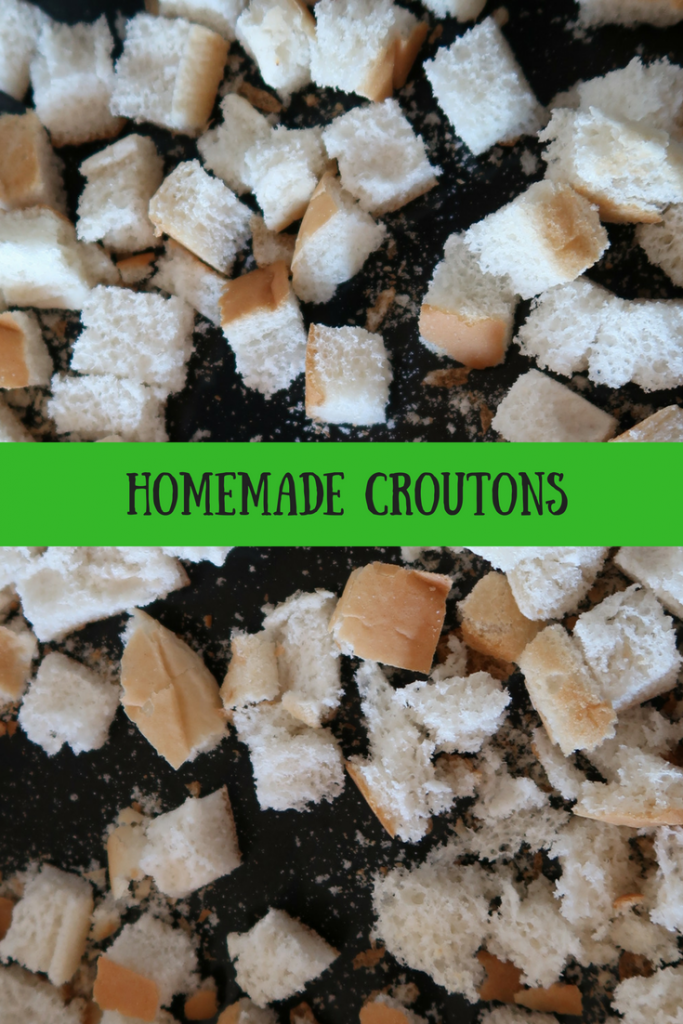 Homemade croutons with text overlay that says homemade croutons