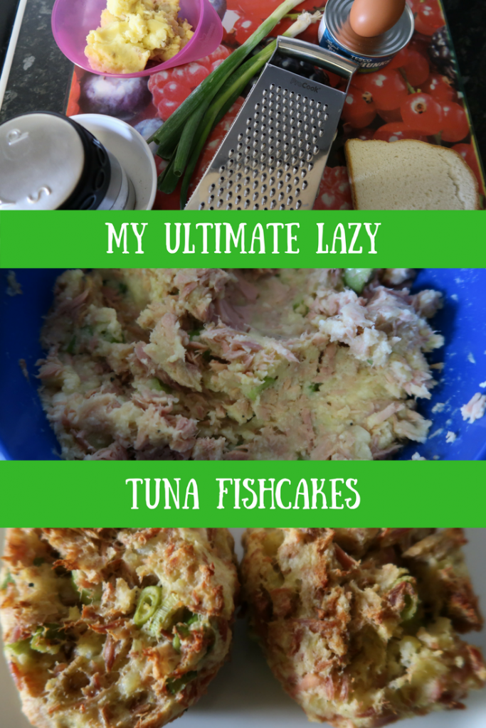 Step by step instructions showing the preparation and cooking of lazy tuna fishcakes and text overlay that says My ultimate lazy tuna fishcakes