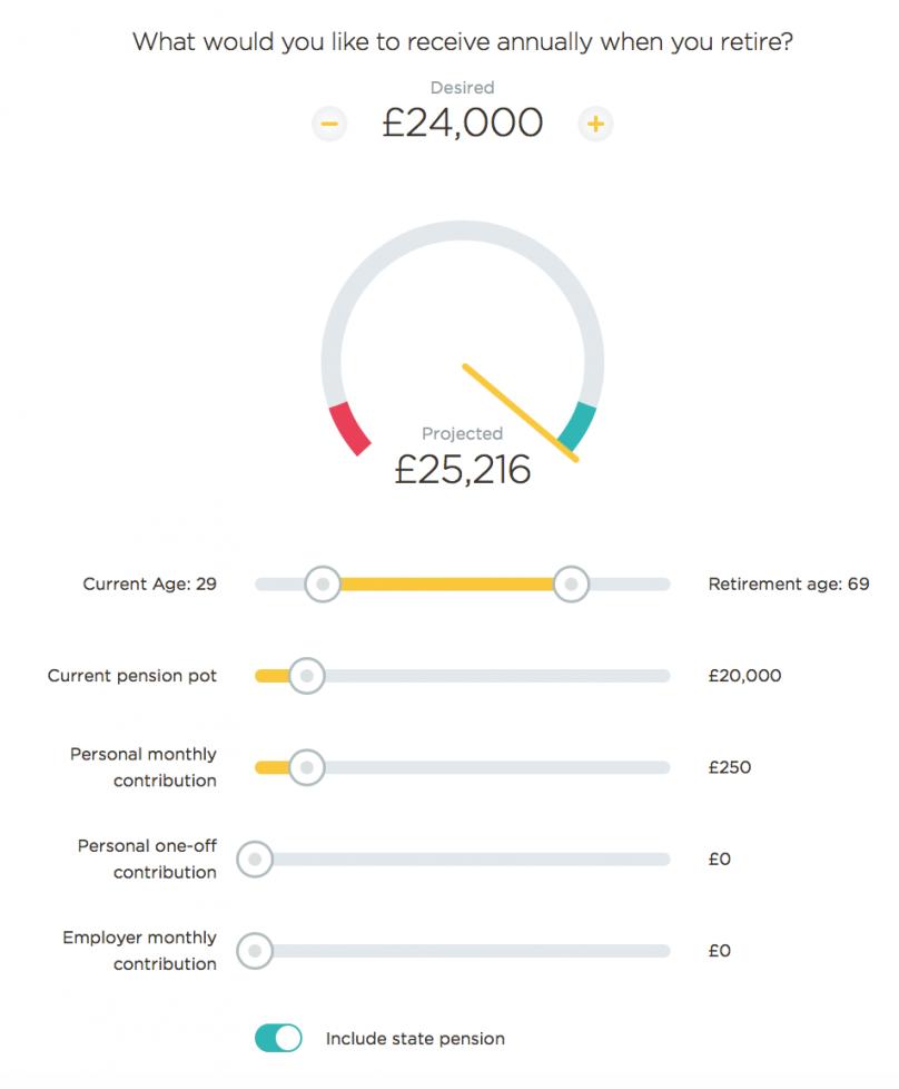 PensionBee Pension Calculator - Calculation 1