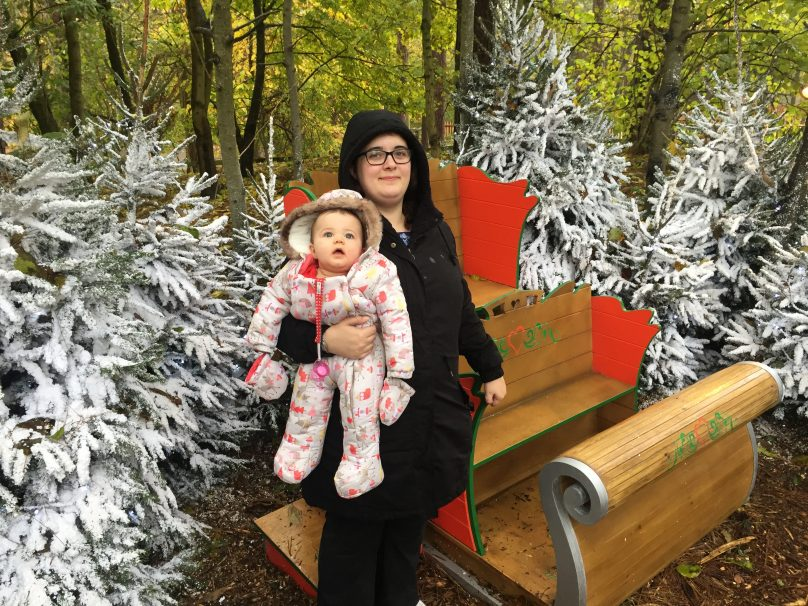 Santa's Woodland Workshop - Daisy and me with Santa's sleigh