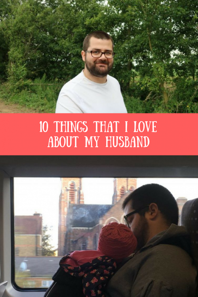 Thomas picking strawberries and cuddling Daisy on the phone and a text overlay that says 10 things that I love about my husband