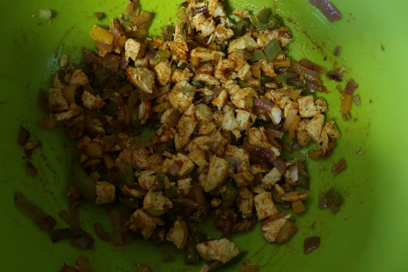 Chicken fajita triangles - A look at the chicken mix once it has been cooked and chopped