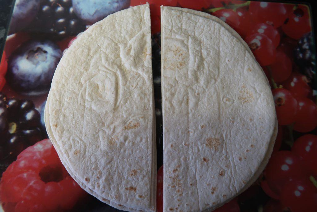 The sliced tortillas for the Chicken fajita triangles