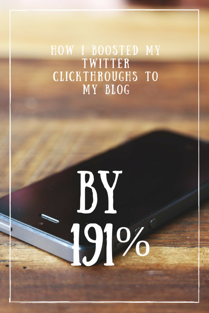A mobile phone on a tabletop and a text overlay that says how I boosted my Twitter clickthroughs to my blog by 191%