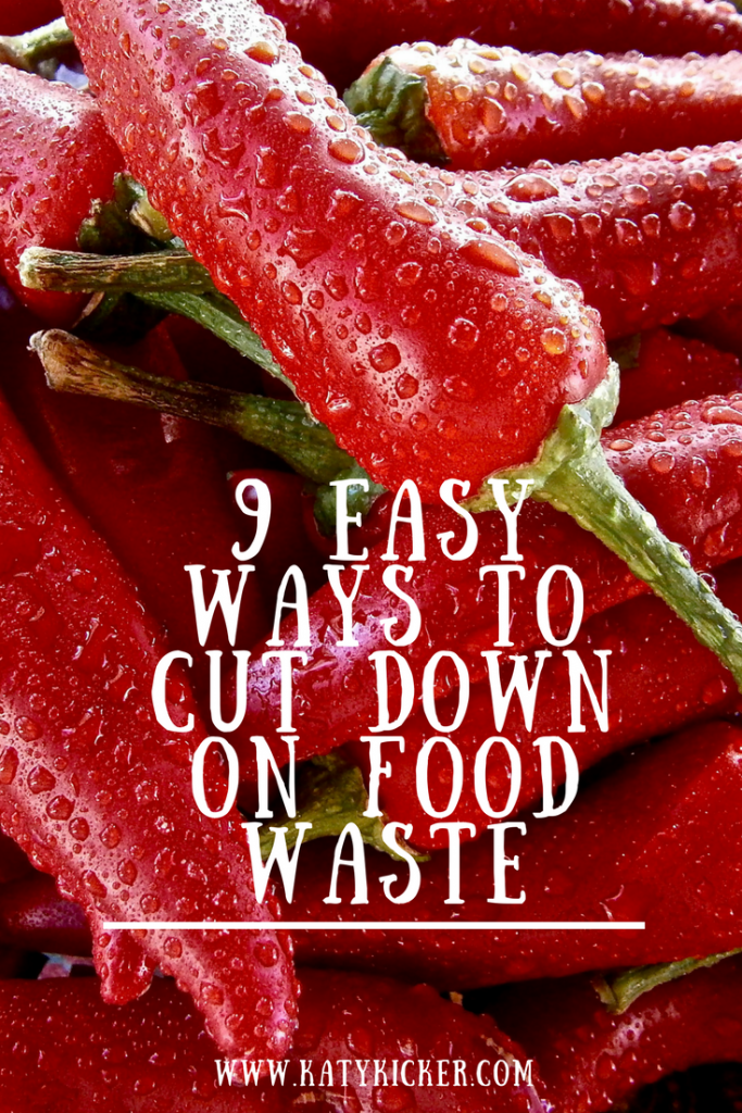 Chilli peppers with water droplets on and a text overlay that says 9 easy ways to cut down on food waste