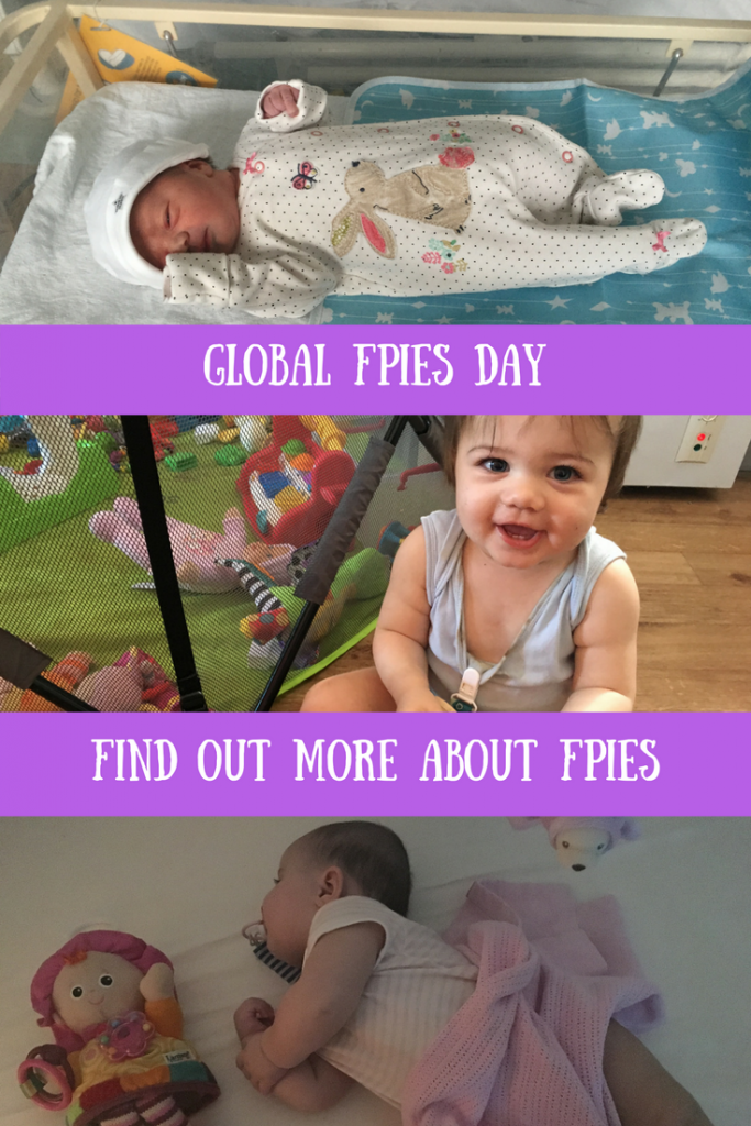 Daisy playing, in hospital and asleep and a text overlay that says global FPIES day - find out more about FPIES.