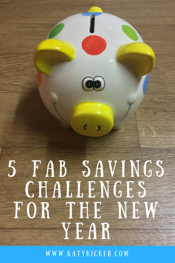 A spotty piggy bank with a pile of silver coins outside of it and text overlay that says 5 fab savings challenges for the New Year