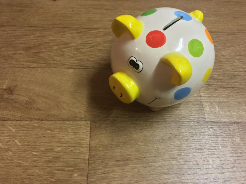 A spotty piggy bank