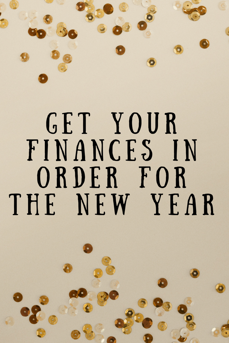 Sequins on a beige background with text that says get your finances in order for the new year