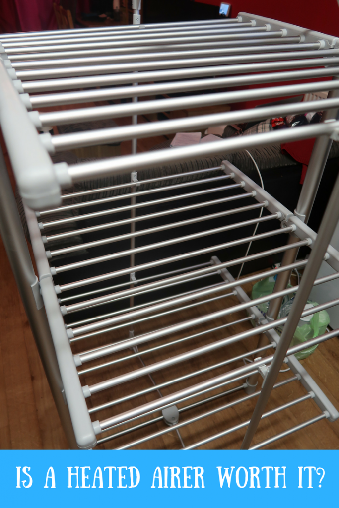 Dry:Soon 3-Tier Heated Tower Airer with text overlay that says is a heated airer worth it?