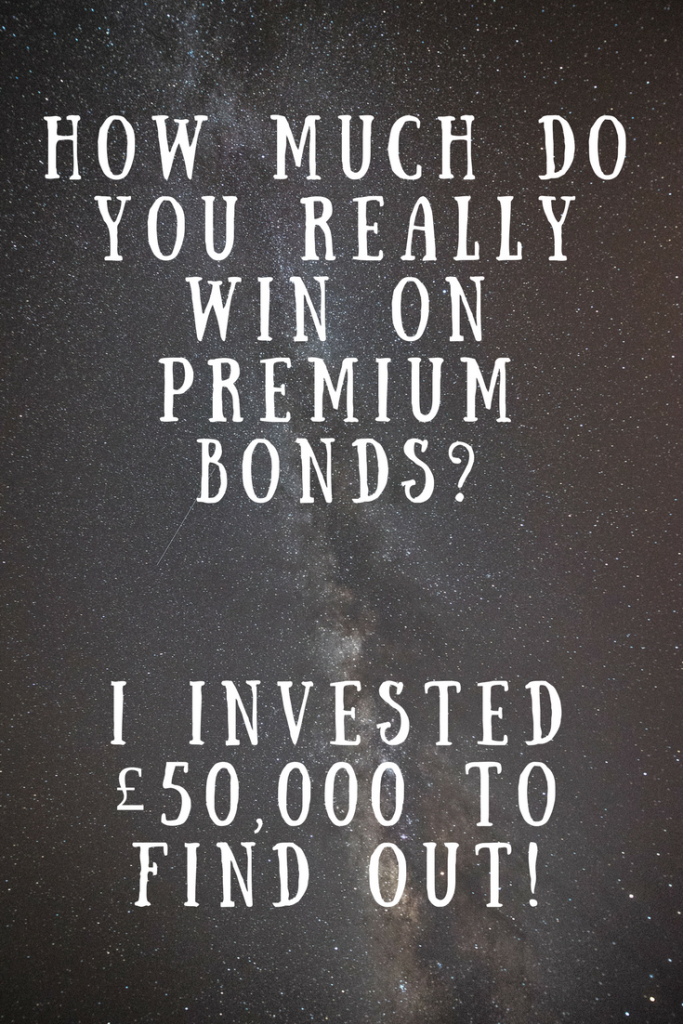 A starry sky background and text overlay that says how much do you really win on premium bonds? I invested £50,000 to find out!