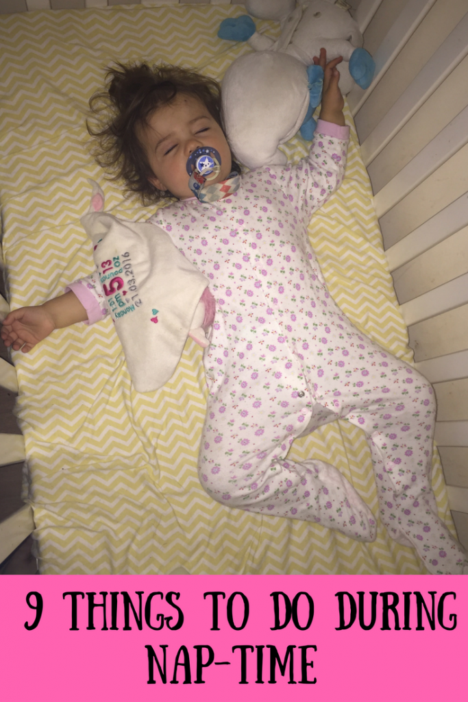 Daisy asleep in her cot with text overlay that says 9 things to do during nap-time