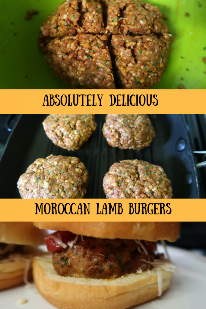 Step by step preparation photos of the Moroccan lamb burgers with text overlay that says Moroccan lamb burgers