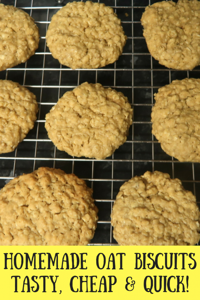 Homemade oat biscuits on a cooling rack