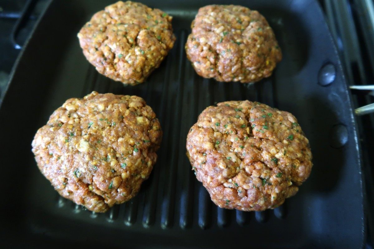 Moroccan lamb burgers on the griddle