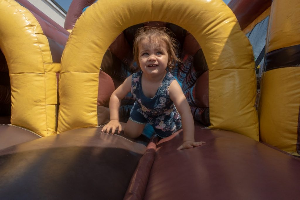A trip to Clacton-On-Sea - Daisy on an inflatable