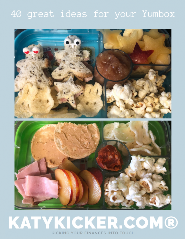 40 great ideas for your Yumbox from Katykicker. Make lunchboxes and lunch time fun with this great list of ideas. #lunchboxideas #yumbox #bentobox #bento #lunches #frugal #food