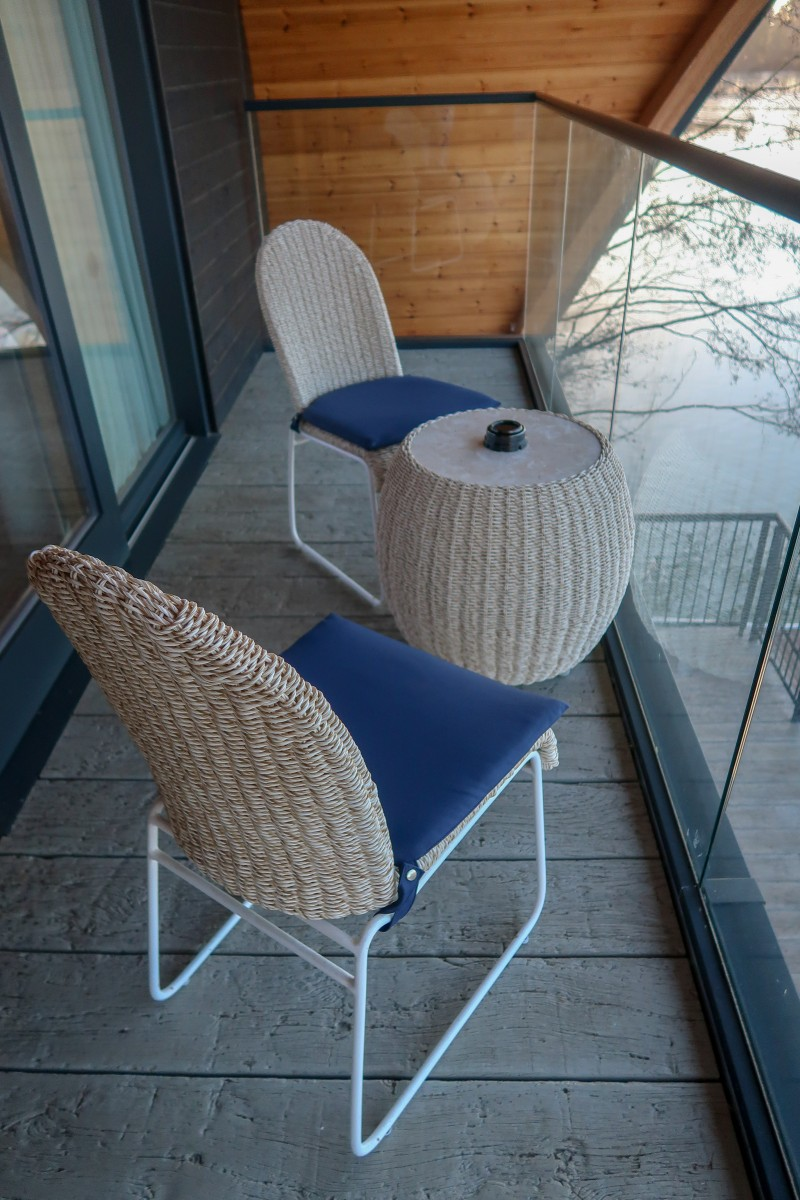 Centerparcs Waterside Lodge Review - Balcony seating area