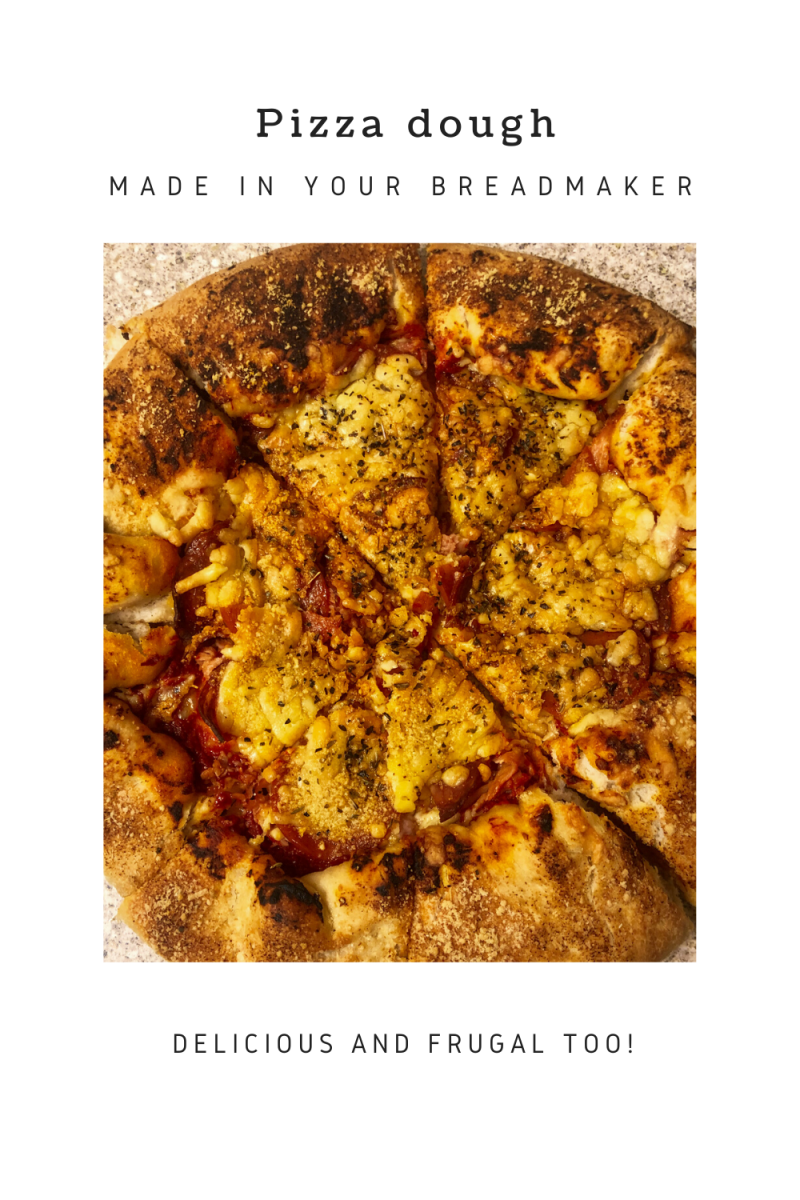 A cooked cheese stuffed crust pizza with text overlay that says pizza dough made in the breadmaker delicious and frugal too!