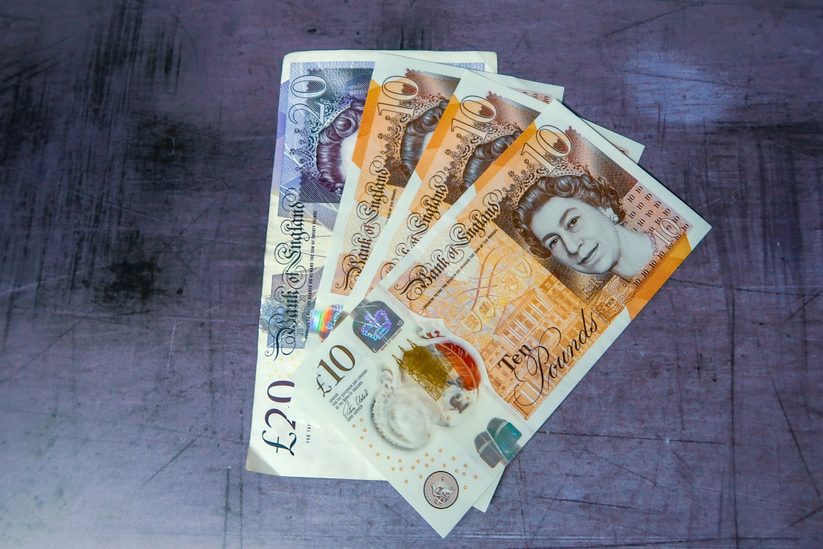 £10 and £20 notes on a grey backdrop
