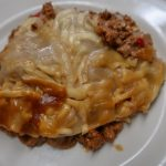 The finished Slow cooker vegetarian lasagne recipe