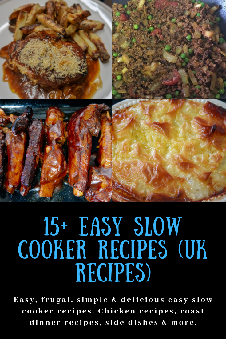 Slow cooker hunters chicken, slow cooker keema curry, slow cooker bbq ribs and slow cooker chicken and mushroom pie filling