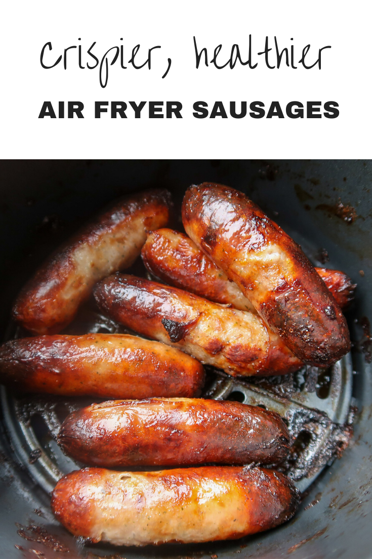Crispier, healthier air fryer sausages. Cook sausages from frozen. #AirFryer #Sausages #AirFryerRecipes #SausageRecipes #FrugalFood