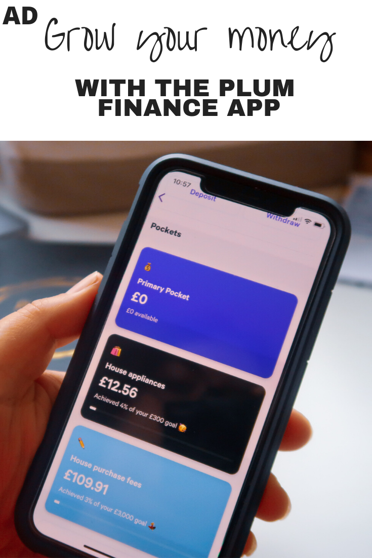 A hand holding an iPhone displaying the Plum finance app with pockets of money; £0 Primary Pocket, £12.56 House Appliances, £109.91 House Purchase Fees