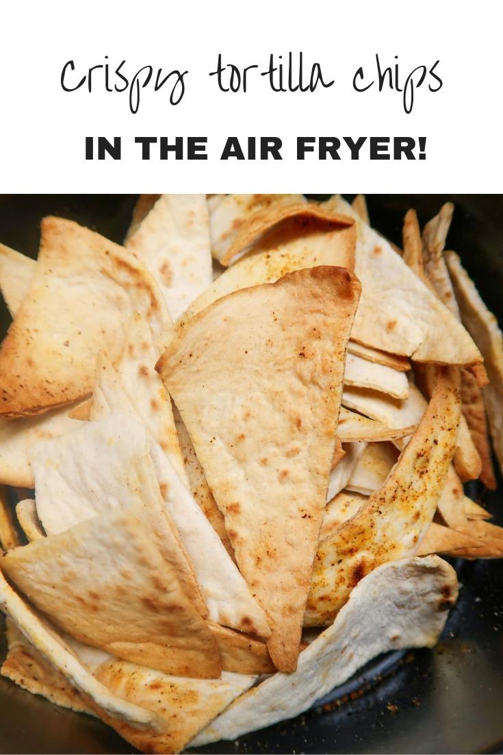 Air fryer tortilla chips in an air fryer basket