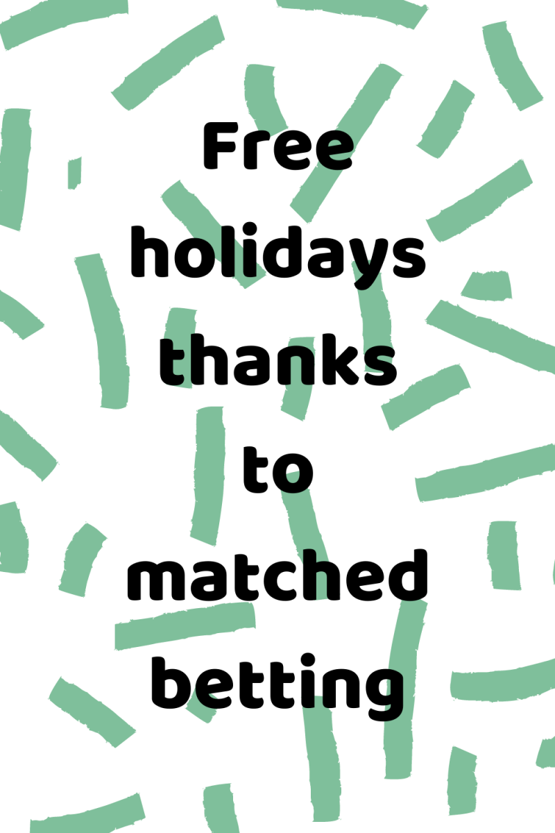 Green stripped background with text overlay that says free holidays thanks to matched betting