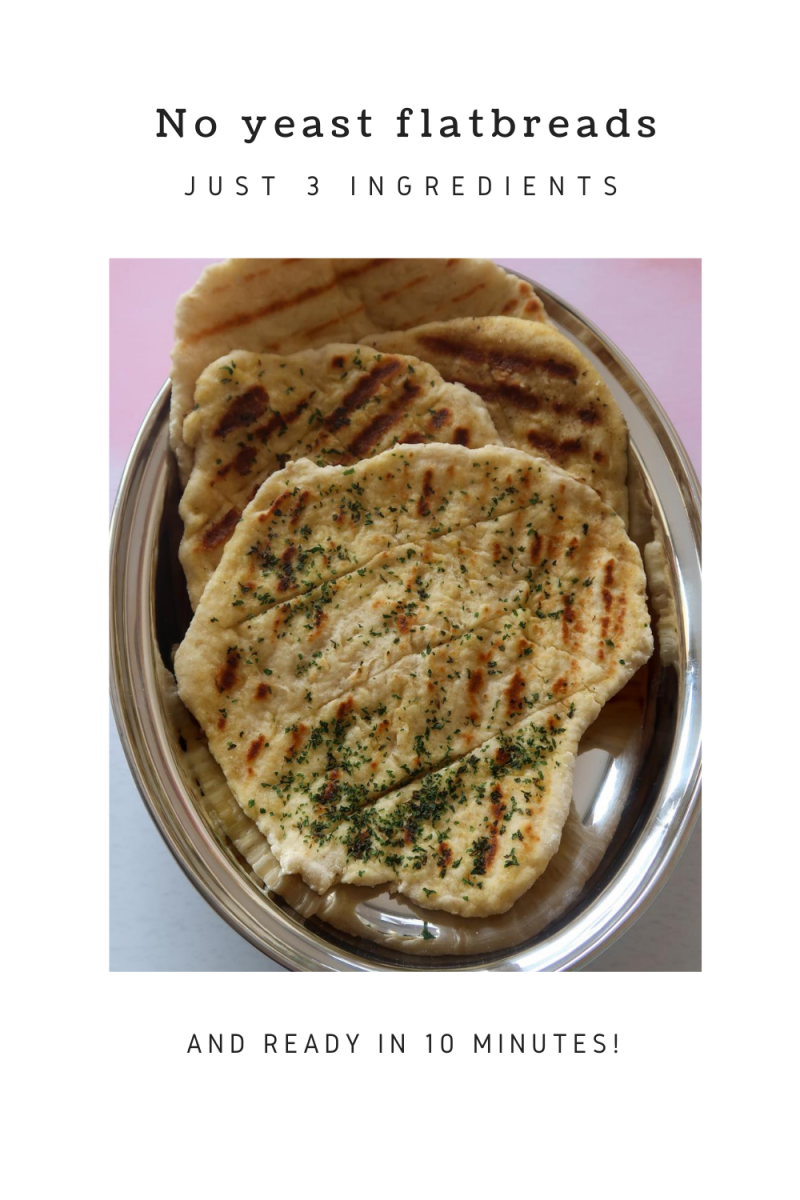 No yeast flatbreads in a silver serving dish