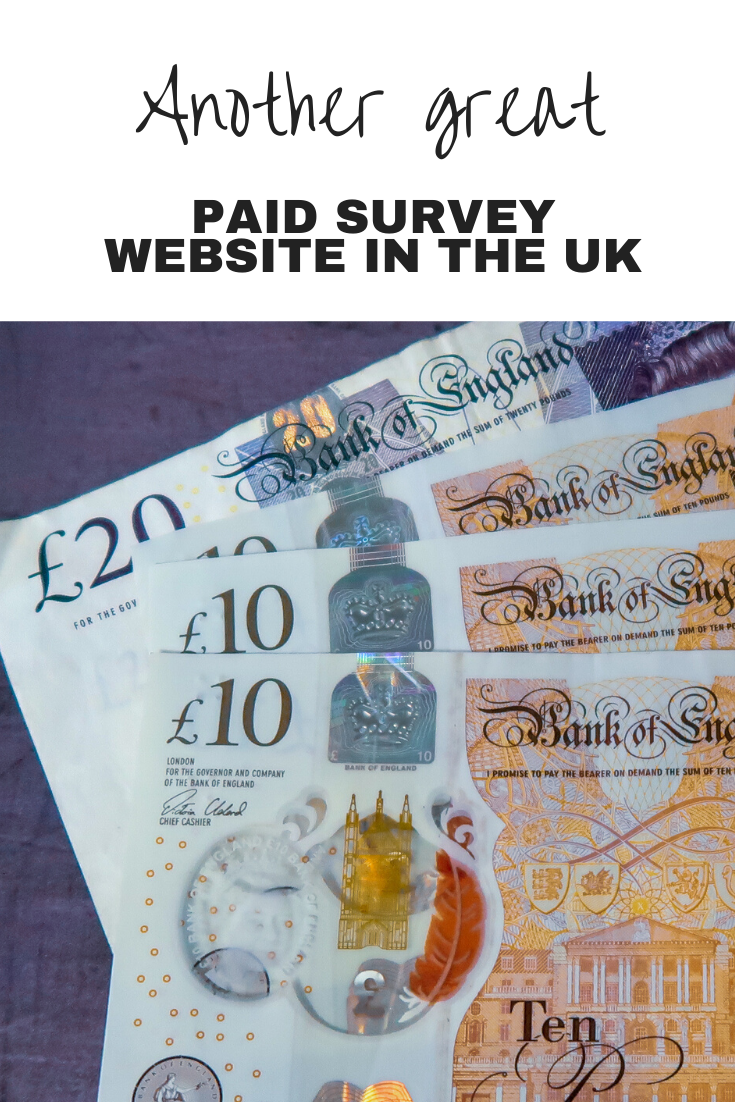 £10 and £20 notes with text overlay that says another great paid survey website in the UK