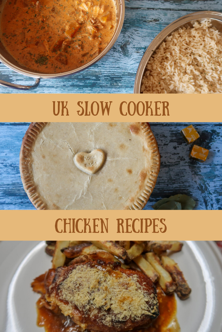 Slow cooker chicken tikka masala, chicken pie, slow cooker hunters chicken