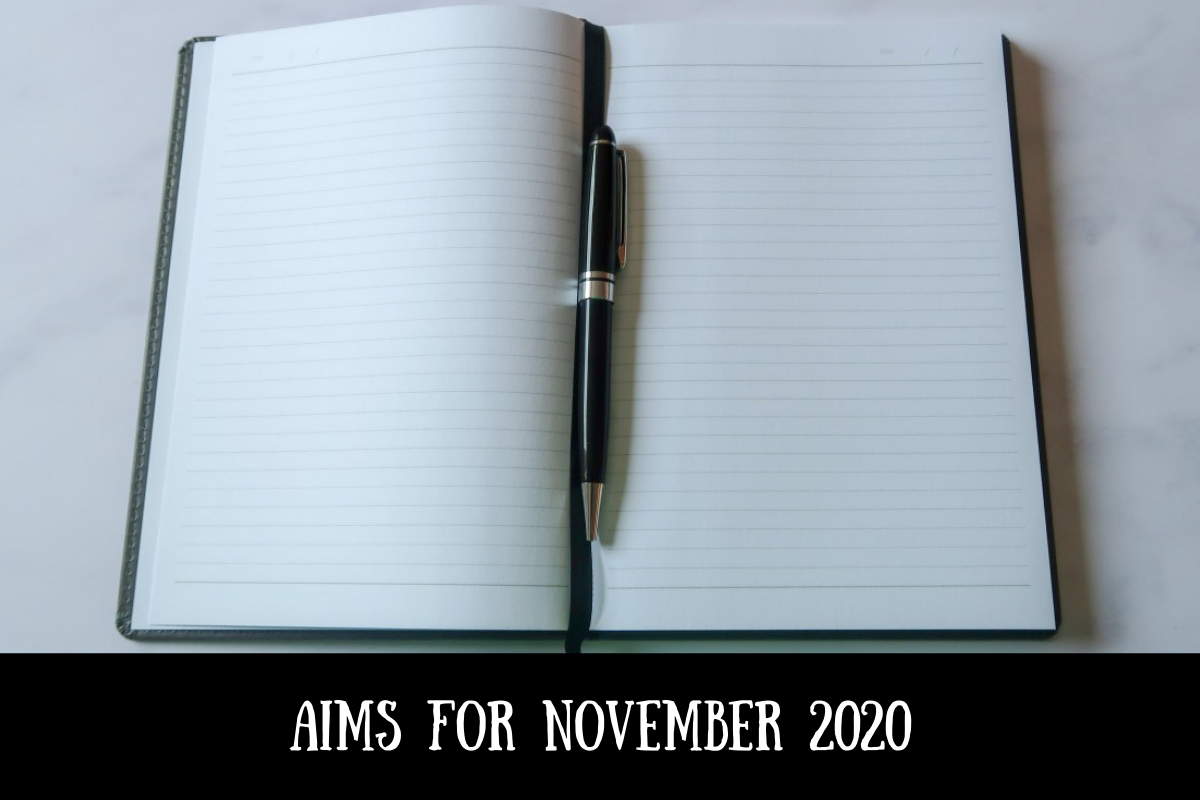 A notebook and pen with text overlay that says aims for November 2020