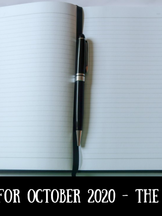 A notebook and pen with text overlay that says Aims for October 2020 - the results