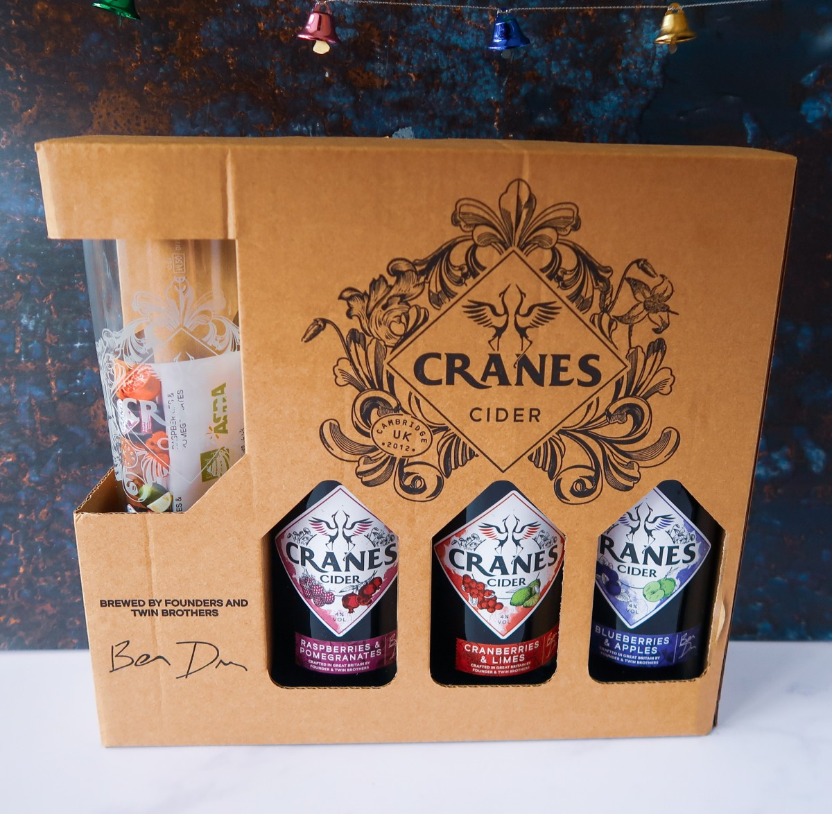 Cranes Cider Set with 3 bottles of Crane's Cider and a cider glass in a decorative box