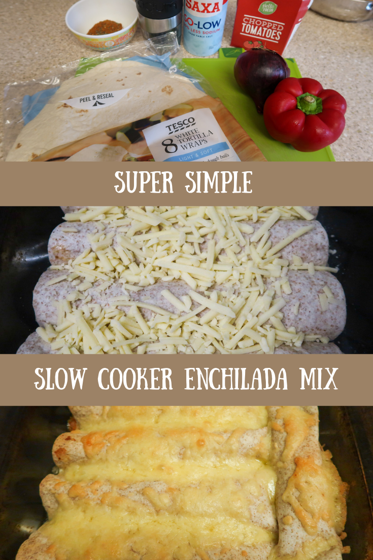 Slow cooker enchilada mix step by step cooking photographs of the ingredients, enchiladas being browning in the oven and enchiladas once browned
