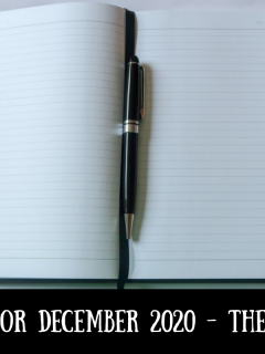 A notebook and pen with text overlay that says Aims for December 2020 - the results