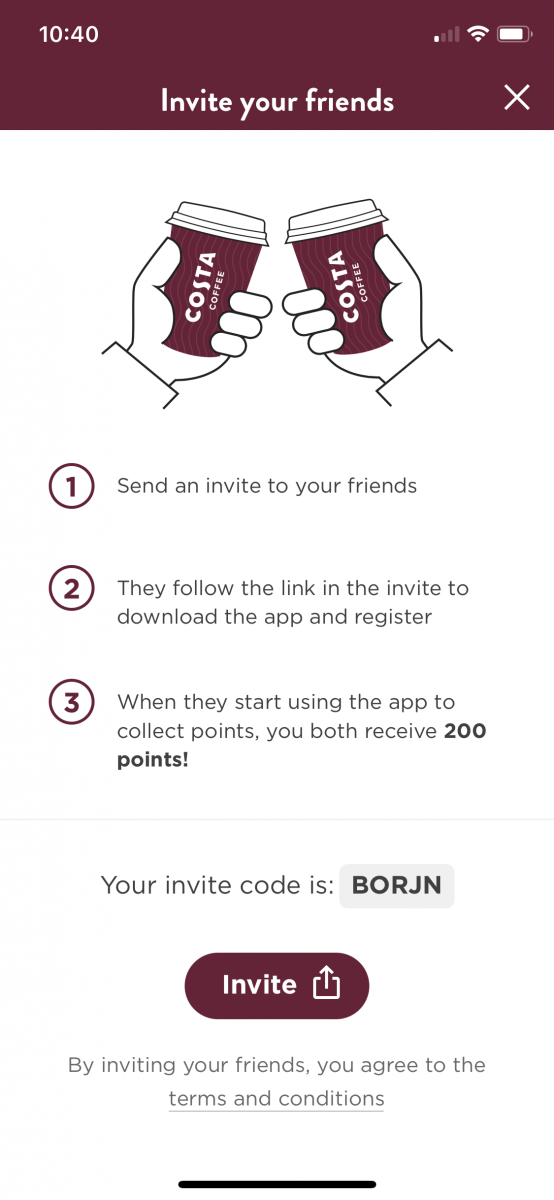 A screenshot from the Costa Coffee app showing a refer-a-friend code