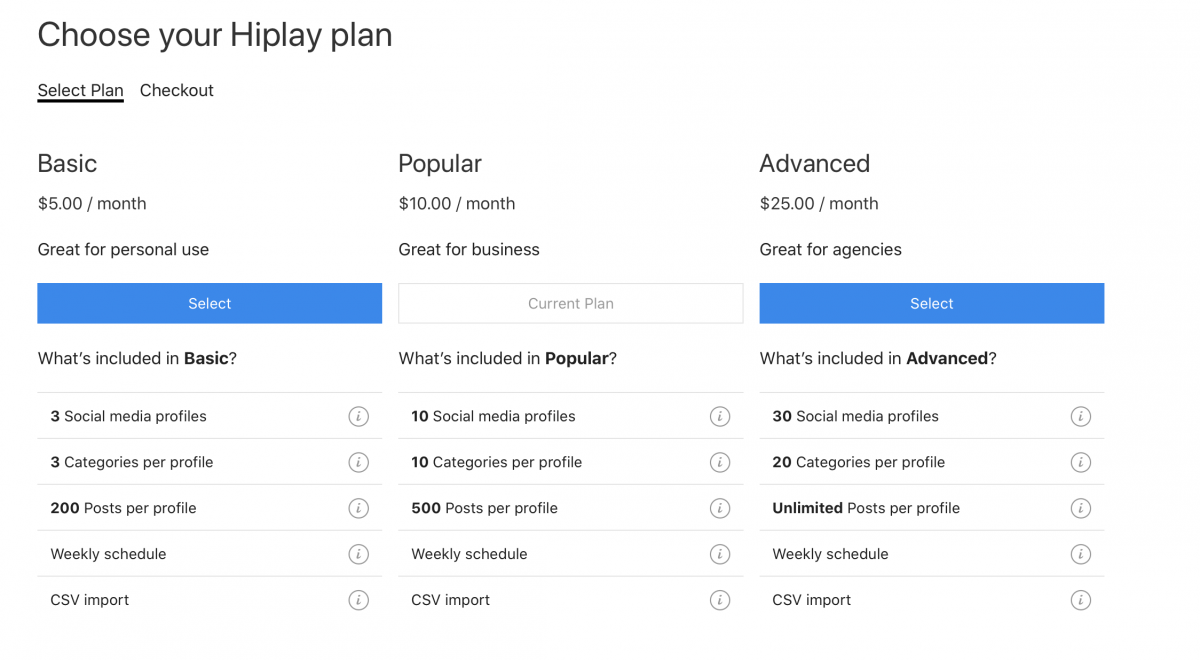 A look at the 3 main plans offered from HiPlay; Basic for $5 a month, Popular for $10 a month, Advance for $25 a month and what is included