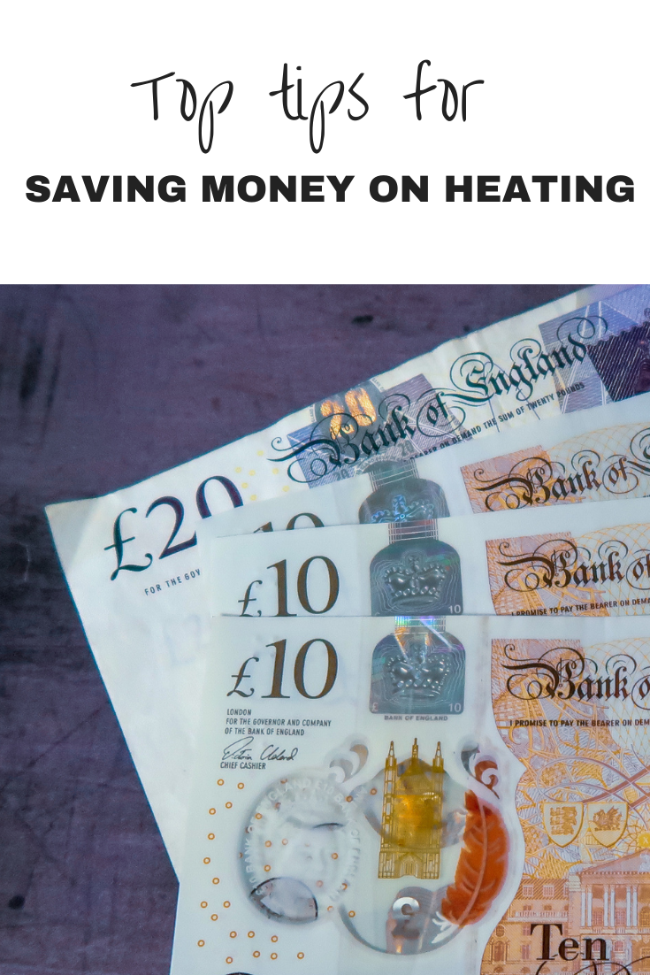 £50 in £20 and £10 notes with a text section that says 'top tips for saving money on heating