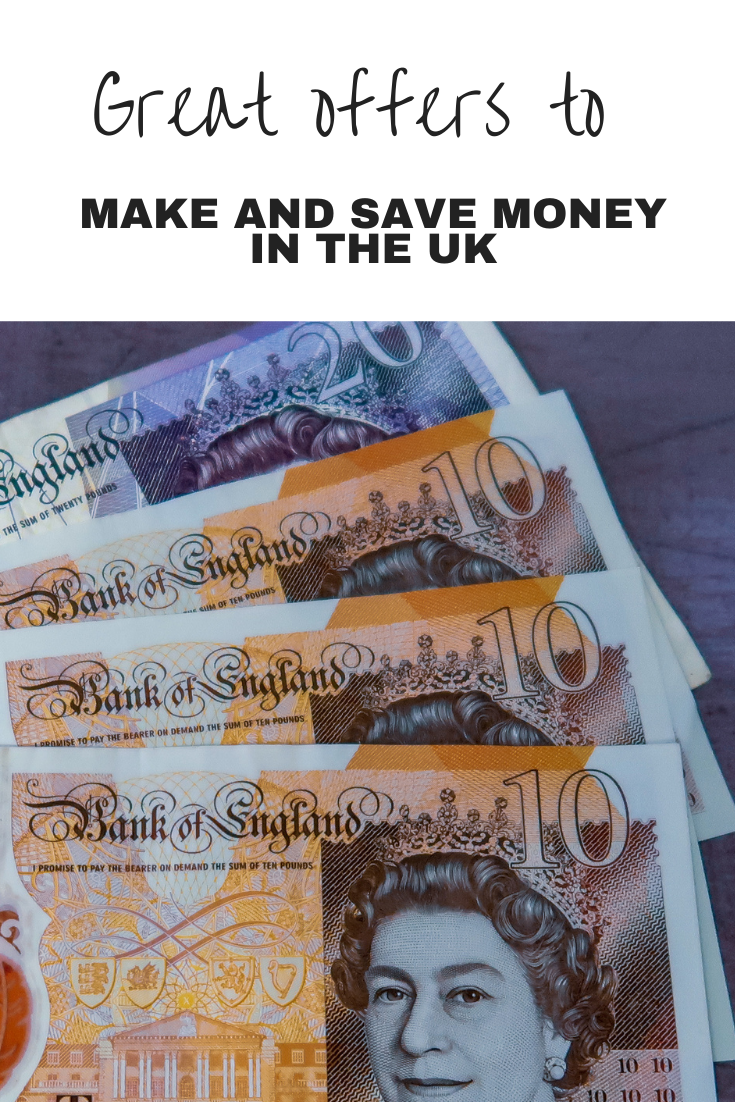 1 x £20 note, 3 x £10 notes and text overlay that says great offers to make and save money in the UK