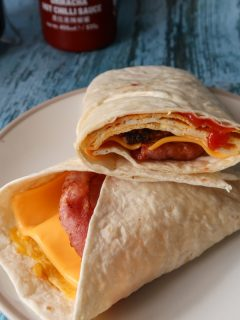 Bacon sausage and egg wrap