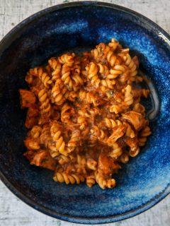 Kale, sausage and tomato pasta