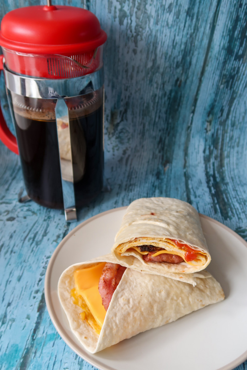 The finished bacon sausage and egg wrap
