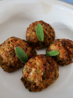 Air fryer stuffing cooked, in a dish, with sage leaves