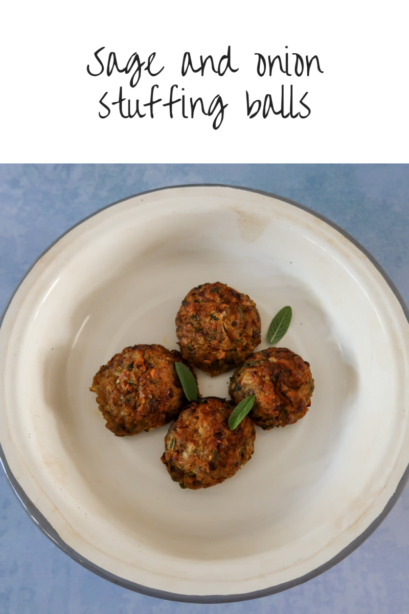 Cooked sage and onion stuffing balls decorated with sage